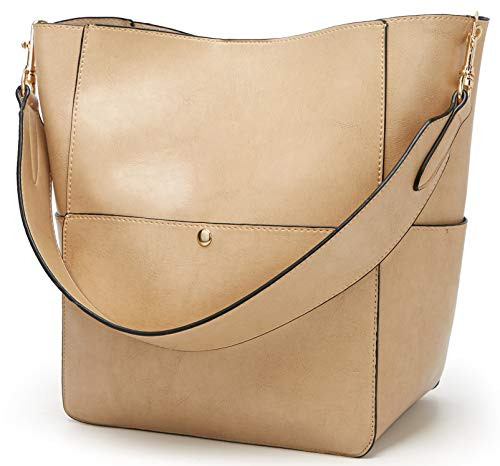 Molodo Women's Satchel Hobo Top Handle Tote Shoulder Purse Soft Leather Crossbody Designer Handbag Big Capacity Bucket Bags (Nude)