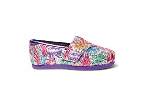 Toms Multi Hyper Clear Palms Glitter Tiny Girls Classics Shoes 10001237 (SIZE: 4C)