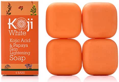 Kojic Acid & Papaya Skin Lightening Soap - Natural Brightening with Hyaluronic Acid for Smooth Face & Body, Dark Spot Elimination for Freckles, Acne Scars, Uneven Skin Tone (2.82 oz / 4 Bars)