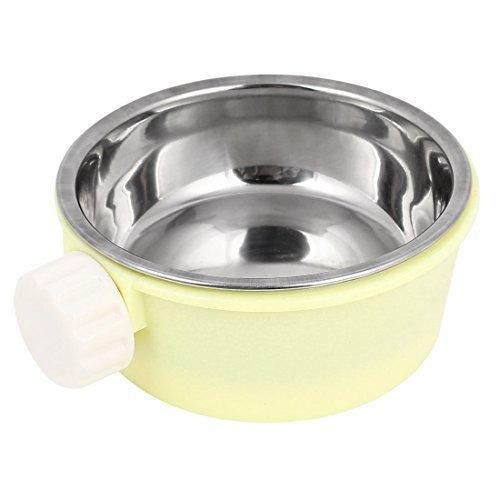 eDealMax Aliments Pour chiens de compagnie en Acier inoxydable Abreuvoir 4,3 pouces Dia Jaune Silve Tone