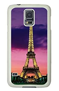 Eiffel Tower At Night Paris France Custom Samsung Galaxy S5/Samsung S5 Case Cover Polycarbonate White