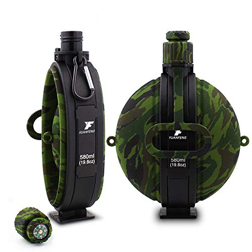 ONEPACK Collapsible Water Bottle, Military Portable Silicone Water Kettle with Compass Bottle Cap for Hiking Camping Cycling Travel Outdoors Sports (19.8 ()