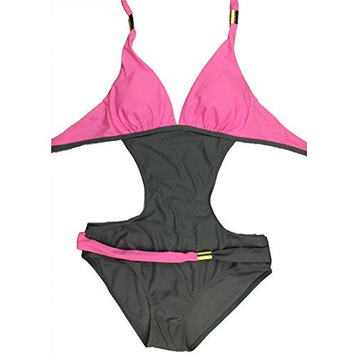DELEY Mujeres Color Bloque Collar Cuello Halter Bikini Brasileño Vacaciones Traje De Baño Monokini Ropa De Baño Swimwear Swimsuit Rosa
