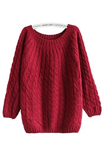 Babyonlinedress Jersey para muy de otoño y invierno cuello redondo manga larga estilo holgado burdeos