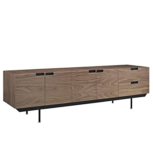 Modway Herald Flat Screen TV Stand Credenza - Sideboard - Buffet Server In Dark Walnut - Mid-Century Modern - 60 - 65 - 70 - 75 - 80 Inch Flat Screen (Veneer Top Server)