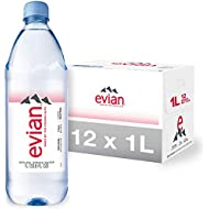 evian Natural Spring Water 1 Liter (Pack of 12), Naturally Filtered Spring Water in Large Bottles