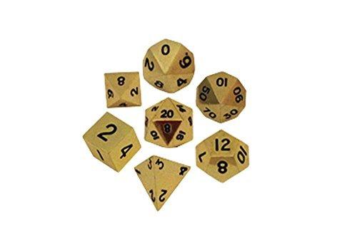 Metal Dice Polyhedral Set of 7 die (7) Gold (Metallic Dice)