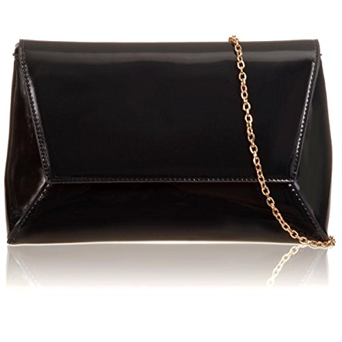 Clutch Bridal Prom Women Black Evening NEW Envelope Ladies Patent Bags Xardi London Large Geometric awg0qSYq