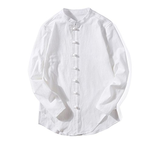 Clearance Sale! Wintialy Men's Casual Tops Summer Long-Sleeve T-Shirt Buton Linen Solid Blouse