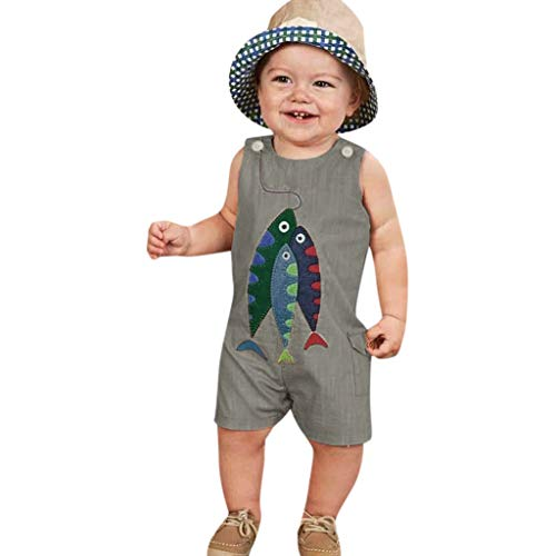 Big Fish Cymbals - Luonita Infant Baby Boys Girls Fish Printing One Piece Romper Jumpsuit Suit Outfits 6M-4T Gray