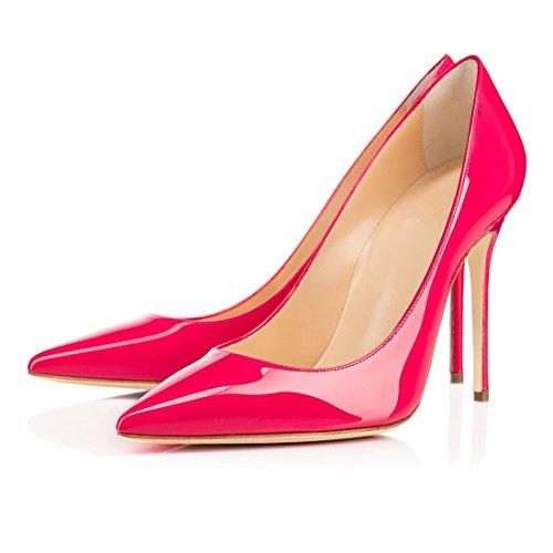 Eldof Mujeres High Heel Bombas Punta Estrecha Stilettoes 10 Cm Vestido De Novia Bombas Zapatos De Oficina Tacones Altos Rose