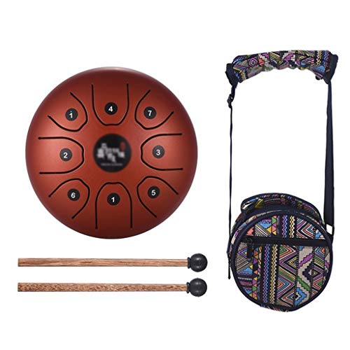 Zyj 5.5 Inch C Key Steel Tongue Drum Mini 8 Tone Steel Hand Drum Percussion Instrument with Drumstick Carrying Bag (Color : E, Size : 5.5 inch 8 ()