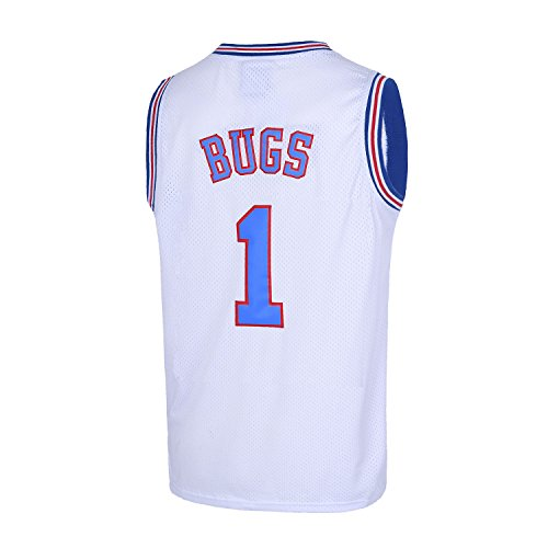 TUEIKGU Bugs 1 Space Men's Movie Jersey Basketball Jersey S-XXL White (Small) -