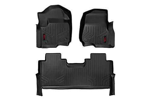 Rough Country Heavy Duty Floor Mats Front/Rear Crew Cab - 17-18 Ford Super Duty F-250 F-350 F-450 F-550 ? (Front Bucket Seats)