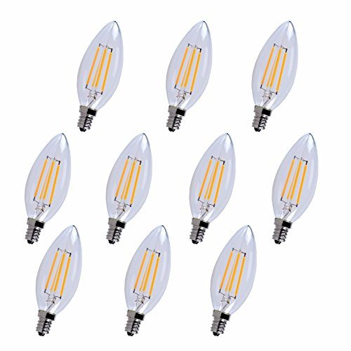 Elitco Lighting E12LED101-10PK LED-Household-Light-Bulbs E12 Candelabra, 2700K, 300°, CRI80, ES, UL/Cul, 4W, 40W Equivalent, 15000HRS, LM300, Dimmable, 2 Years Warranty, Input Voltage 120V 10 Pack from Elitco Lighting