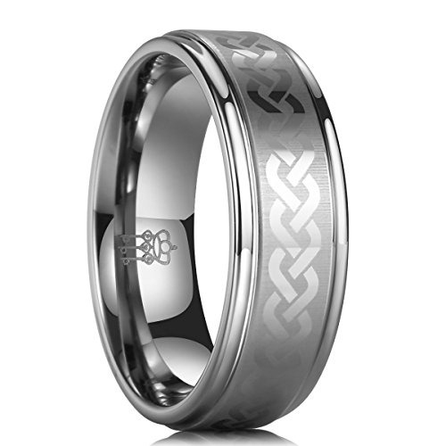 Three Keys Jewelry 8mm Men Tungsten Carbide Ring Wedding Engagement Band Silver Plat Polish Step Edge Laser Brushed Celtic Knot Size 6 Brushed Silver Step