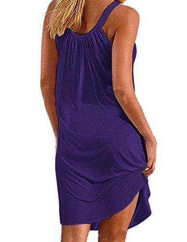 A sans Robe Ligne de Robe Bain Violet Plage Grande Bikini Rond Ete Maillots Col Femme de Up BienBien Manches Cover Lache Taille P0dgwqP
