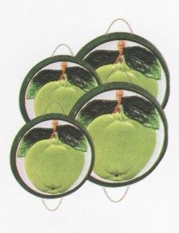 GREEN APPLE 3-D Stove / Burner Covers Set of 4 *NEW*
