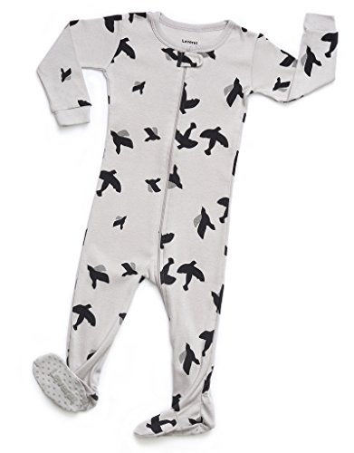 Leveret Kids Organic Cotton Bird Baby Boys Girls Footed Pajamas Sleeper (Size 6-12 Months)