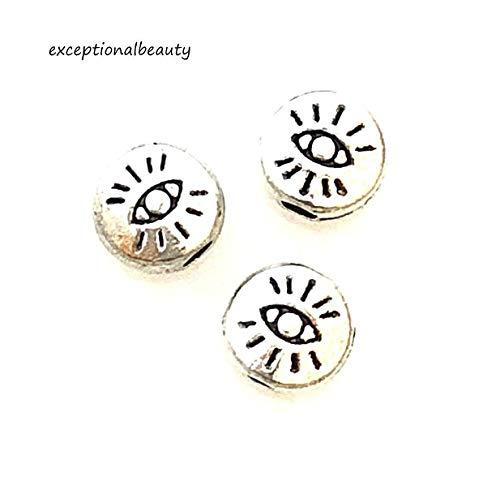Beads Round Spacer Metal Cast - 100 Tibetan Antiqued Silver 6mm Flat Round Evil Eye ICU Metal Spacer Beads