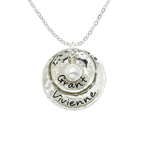 - Dopio Personalized Sterling Silver Necklace with 2 Customizable Discs. Hand Finished and Accompanied by a Swarovski Pearl on a Sterling Silver Chain. Gifts for Her, Wife, Mother, Grandmother
