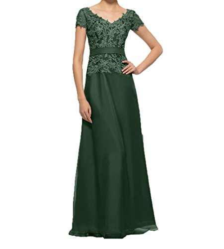 Spitze mit linie Damen Charmant Brautmutterkleider Kurzarm Elegant A Partykleider Promkleider Lang Abendkleider Dunkel Gruen aTZPxa