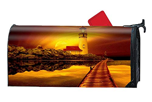 MALBX Artistic Sunset Earth Lighthouse Pier Ocean Golden Spring Magnetic Mailbox Cover Floral Puppy Lane ()