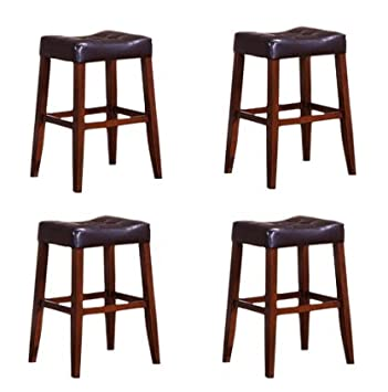 4 24 Saddle Back Espresso Kitchen Counter Bar Stools