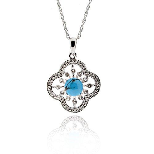 Topaz Flower Pendant (Sterling Silver Round Turquoise & White Topaz Flower Pendant Necklace 18