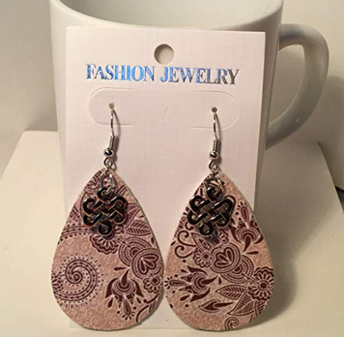 (Brown and Beige Flower Pattern Leather Teardrop Earrings with Celtic Knot Charm )