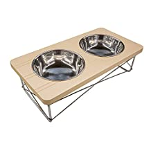 Easyology Stainless Steel Elevated Feeder Bowls for Cats & Small Dogs (Beige)