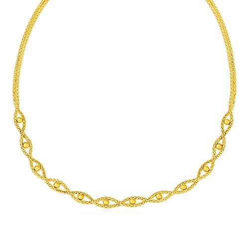 14k Braided Bead Chain - Jewels By Lux Braided Chain Necklace with Polished Bead Accents in 14k Yellow Gold