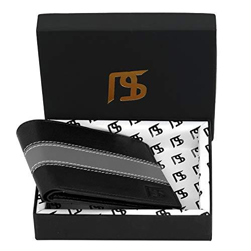 Nisun RFID Protected Black Genuine Leather Men's Wallet (NS0104- Black)