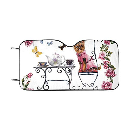 (Yorkie Durable Car Sunshade,Yorkshire Terrier in Pink Dress Having a Tea Party Tea Time Butterflies Roses Decorative for car,55