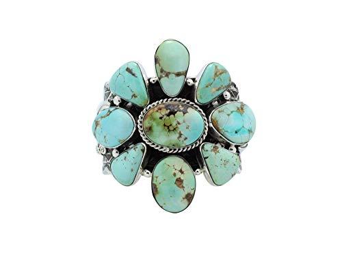 Tillie Jon, Bracelet, Cluster, Royston Turquoise, Silver, Navajo Handmade, (Sterling Silver Turquoise Cluster Bracelet)