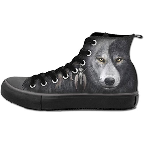 Gothic Metal Fantasy Noir Spiral Baskets Hommes Loup Chi 44 Sneakers qwx6I7t