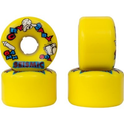 Seismic Cry Baby 64mm Longboard Wheels (Yellow 80a) (Seismic Trucks)