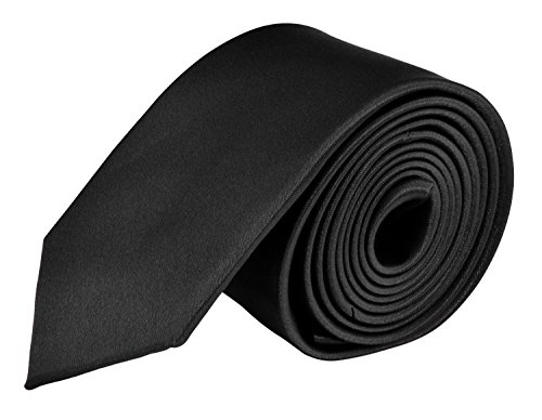 Ties For Mens Skinny Slim Silk Finish Fashion Long Necktie - Solid Color MDR - Black Tie -