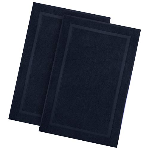 Cotton Craft - 2 Pack Luxury Bath Mat - Navy - 100% Ringspun Cotton - Oversized 21x34 - Heavy Weight 1000 Grams - 2 Ply Construction - Highly Absorbent - Soft Underfoot Easy Care Machine Wash