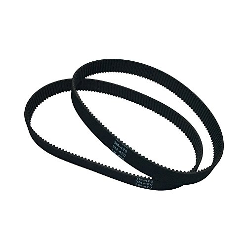 BEMONOC Pack of 2pcs HTD 3M Small Rubber Timing Belt 420mm Length 140 Teeth 10mm Width Closed-Loop Industrial Round Belts