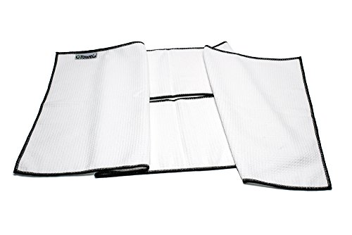 Center Cut Microfiber Golf Towel 16''x40'' (White w/ Black Edge) by Clothlete (Image #1)