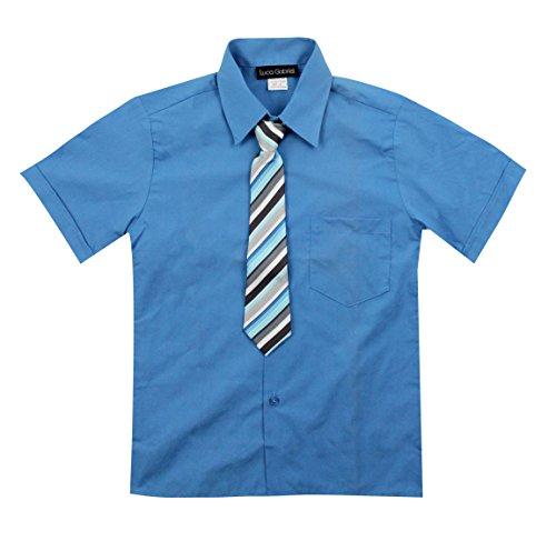 (Luca Gabriel Toddler Boy's Short Sleeve Formal Button Down Dress Shirt & Tie Set - Vivid Blue Size 10)