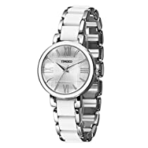 Time100 Fashion Elegance Watch Women Silver Tone White Ceramic Watches for Womens W50190L