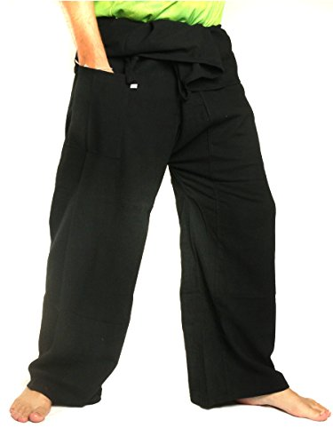 (jing shop Men's Thai Fisherman Pants Extra Long Cotton Solid Color with One Side Pocket Black)