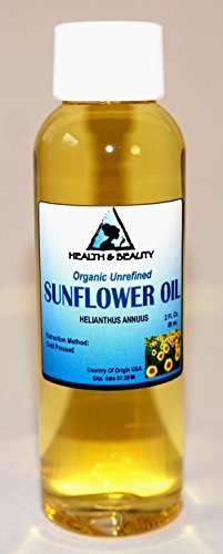 Sunflower Oil Unrefined Organic Carrier Cold Pressed Pure 2 oz
