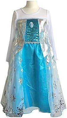 La Señorita Elsa Frozen Vestido Azul de Princesa para niña Disfraz ...