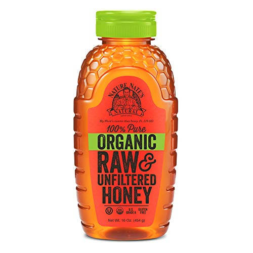 Nature Nate's 100% Pure Raw & Unfiltered Organic Honey; Product of Brazil and Uruguay; Packaged in 16 Ounce. Squeeze Bottle; Enjoy Honey's Balanced Flavor and Wholesome Benefits
