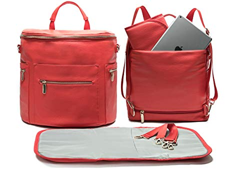 Leather Diaper Bag Backpack by Miss Fong, Diaper Backpack with Changing Pad,Wipes Pouch,Diaper Bag Organizer,Stroller Straps and Insulated Pockets (Red-Convertible)