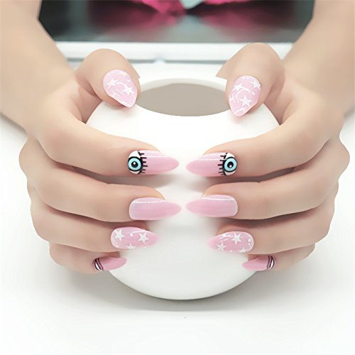 Stiletto Nails Full Cover False Nails With Glue Acrylic Nail Tips UV Long Artificial Fake Nails 28 ()