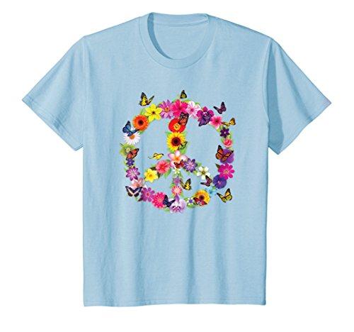 - Kids Butterfly Peace Sign Floral Flower Garden Nature T-Shirt 8 Baby Blue